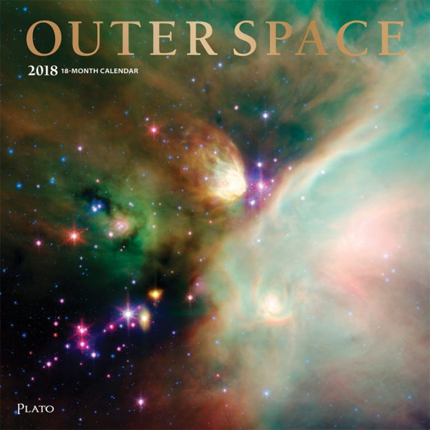 Outer Space 2018 Square Wall Calendar Front Cover - Plato Calendars All Rights Reserved