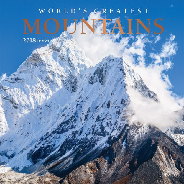 World's Greatest Mountains 2018 Square Wall Calendar Front Cover - Plato Calendars All Rights Reserved