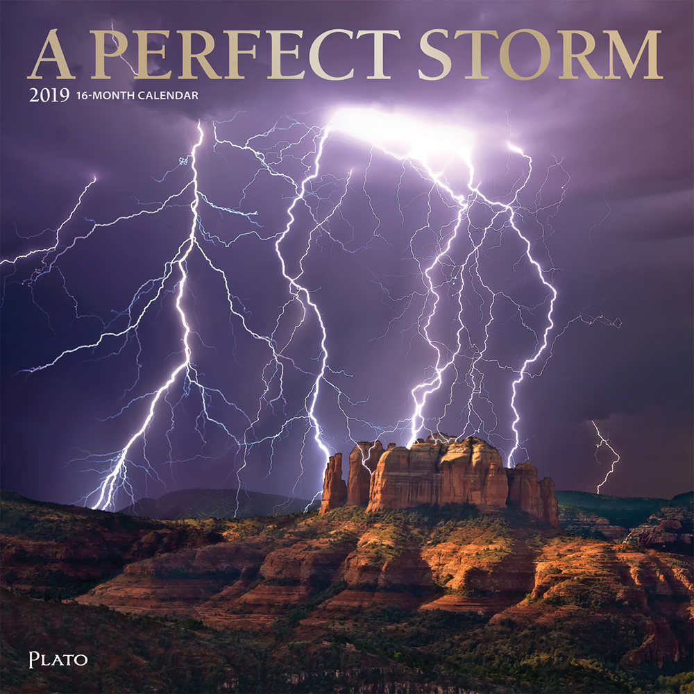 A Perfect Storm 2019 12 x 12 Inch Monthly Square Wall Calendar with Foil Stamped Cover by Plato, Worldwide Weather