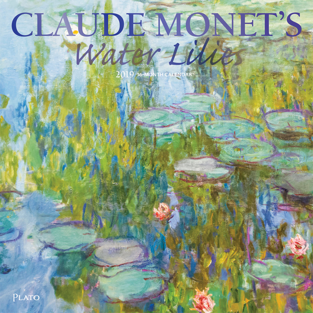 Claude Monet's Water Lilies 2019 12 x 12 Inch Monthly Square Wall Calendar with Foil Stamped Cover by Plato, Impressionism Art Artist Outdoor