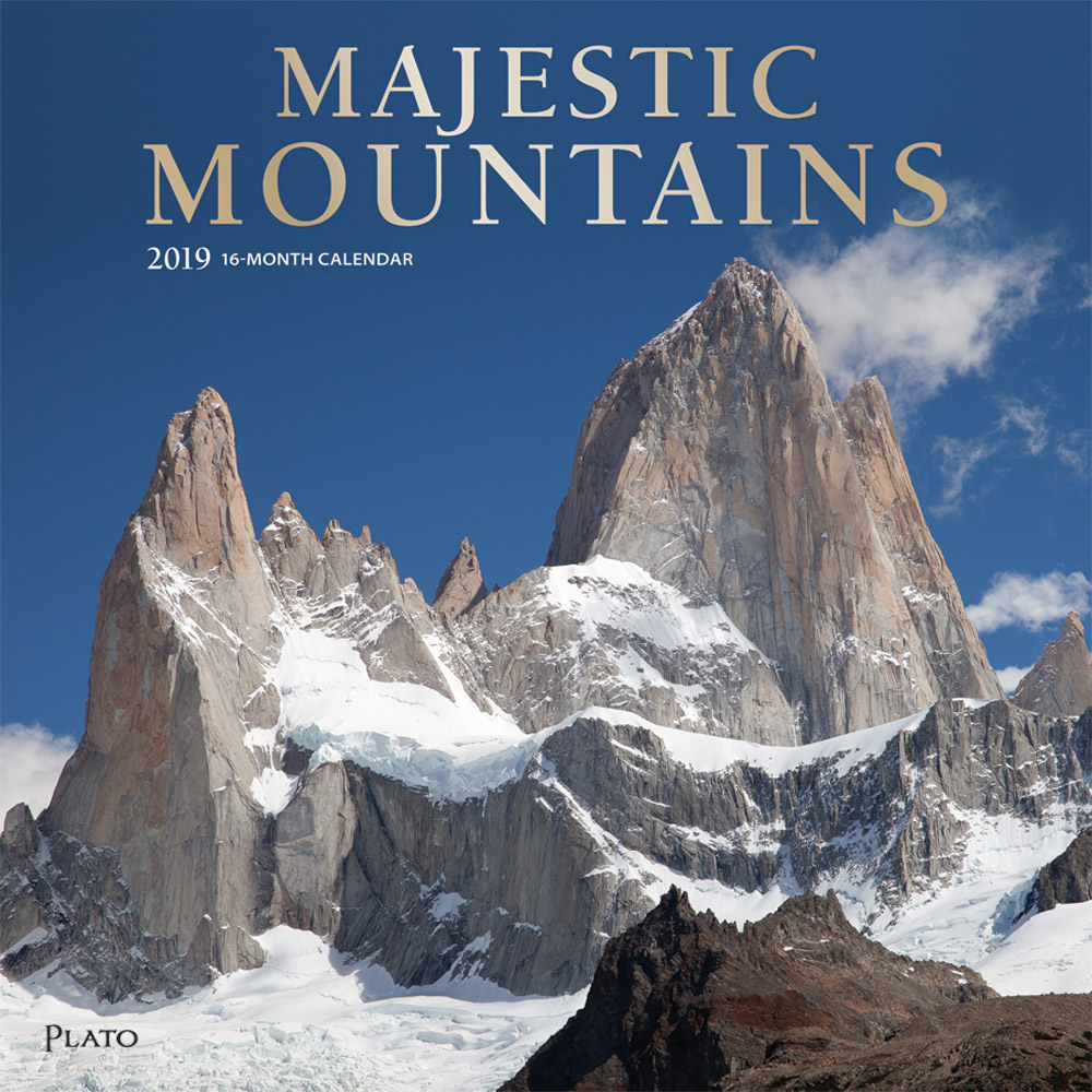 Majestic Mountains 2019 12 x 12 Inch Monthly Square Wall Calendar with Foil Stamped Cover by Plato, Scenic Nature Photography