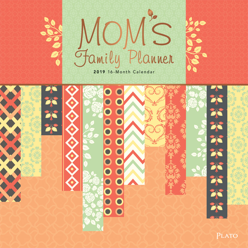 Mom's Family Planner 2019 12 x 12 Inch Monthly Square Wall Calendar with Foil Stamped Cover by Plato, Planning Organization Family