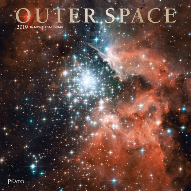 Outer Space 2019 12 x 12 Inch Monthly Square Wall Calendar with Foil Stamped Cover by Plato, Universe Cosmos Inspiration