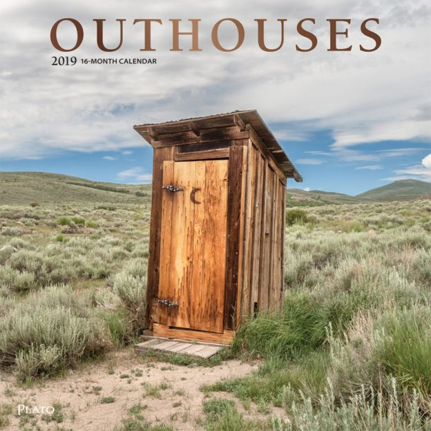 Outhouses 2019 12 x 12 Inch Monthly Square Wall Calendar with Foil Stamped Cover by Plato, Toilette Latrine Bog Humor