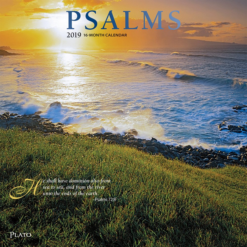 Psalms 2019 12 x 12 Inch Monthly Square Wall Calendar with Foil Stamped Cover by Plato, Religion Hymns Lord