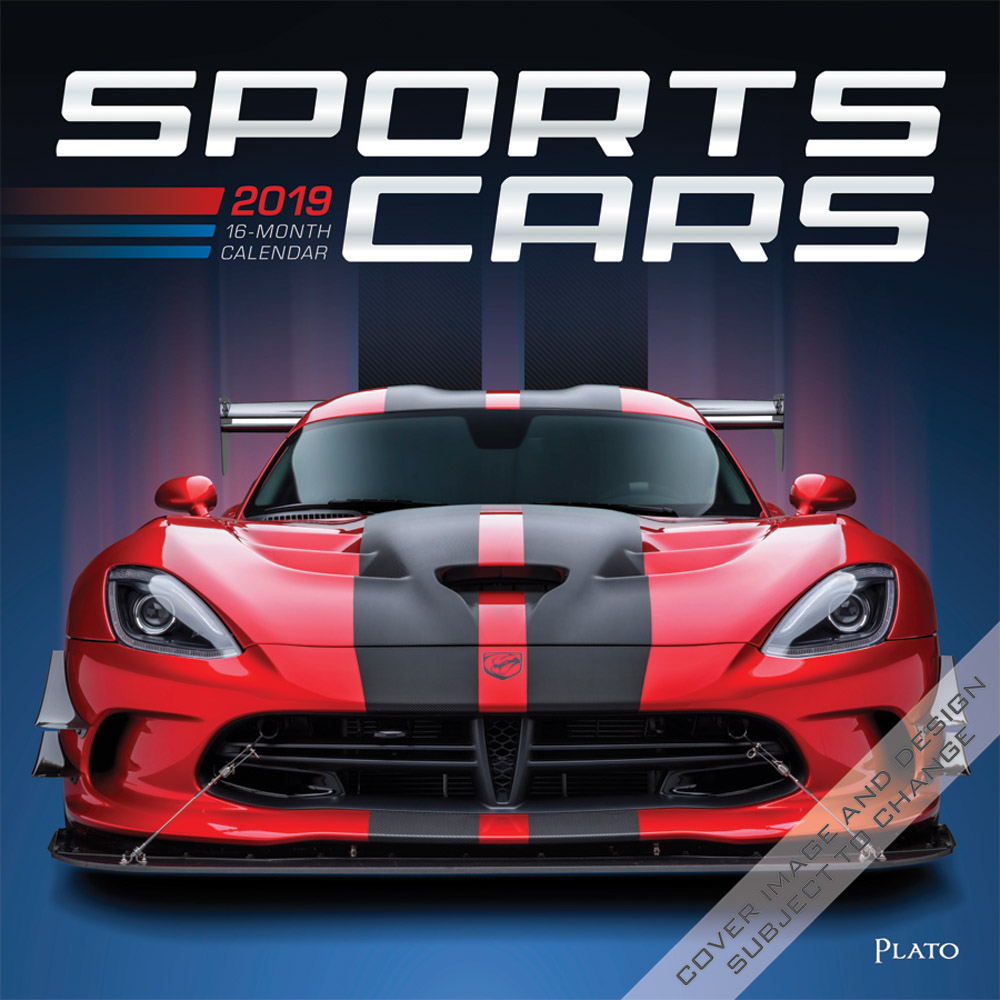 Sports Cars 2019 12 x 12 Inch Monthly Square Wall Calendar with Foil Stamped Cover by Plato, Racing Sports