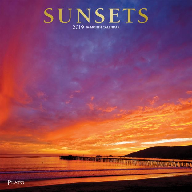 Sunsets 2019 12 x 12 Inch Monthly Square Wall Calendar with Foil Stamped Cover by Plato, Nature Photography Science