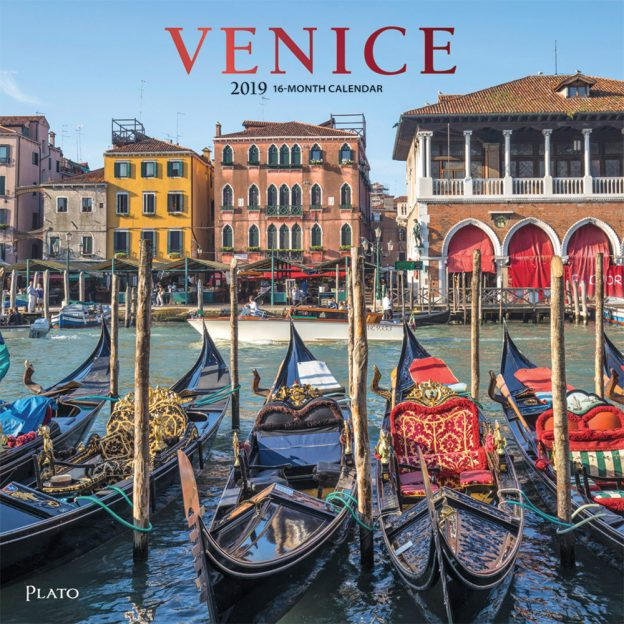 Venice 2019 12 x 12 Inch Monthly Square Wall Calendar with Foil Stamped Cover by Plato, Scenic Travel Europe Italy