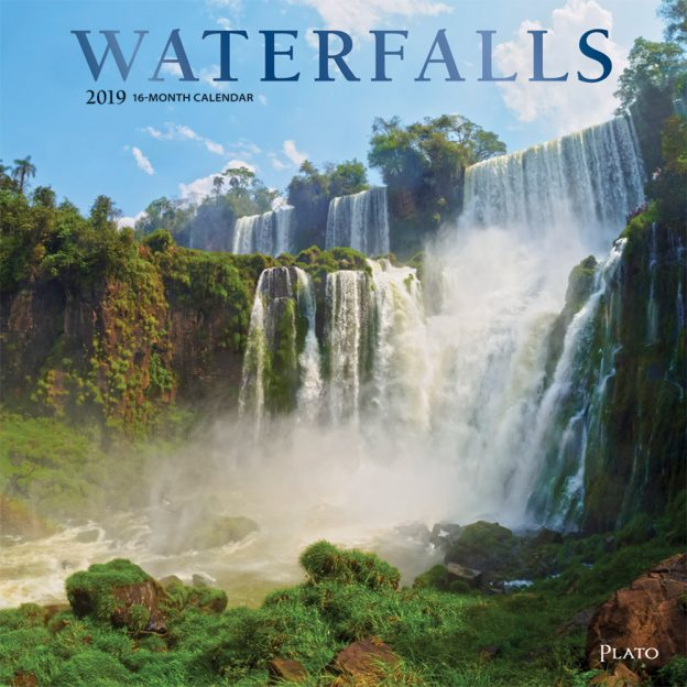 Waterfalls 2019 12 x 12 Inch Monthly Square Wall Calendar with Foil Stamped Cover by Plato, Nature Waterfalls