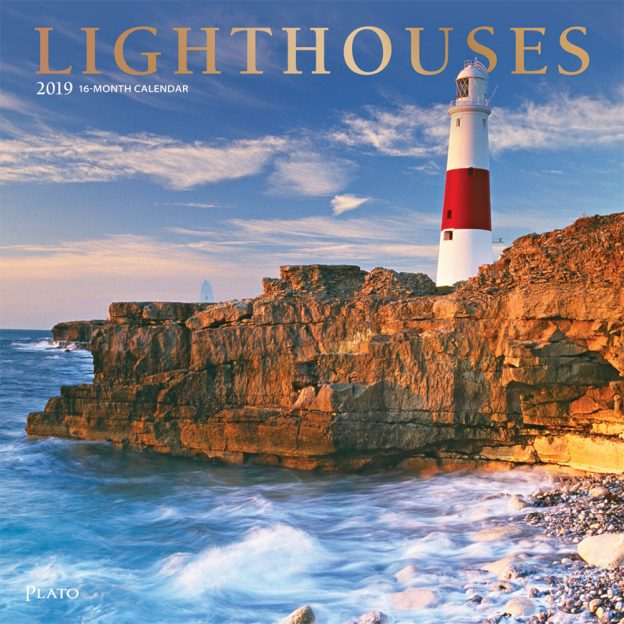 Lighthouses 2019 12 x 12 Inch Monthly Square Wall Calendar with Foil Stamped Cover by Plato, Ocean Sea Coast
