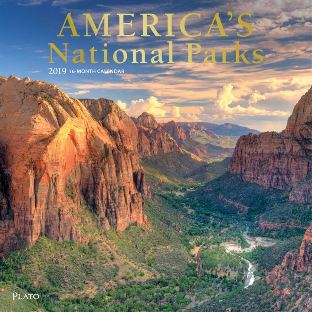 America's National Parks 2019 12 x 12 Inch Monthly Square Wall Calendar with Foil Stamped Cover by Plato, Yosemite Yellowstone