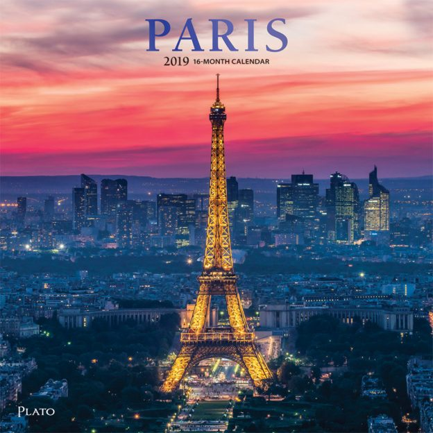 Paris 2019 12 x 12 Inch Monthly Square Wall Calendar with Foil Stamped Cover by Plato, Scenic Travel Europe France