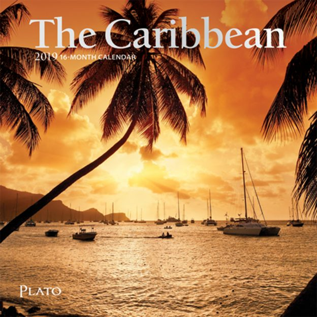The Caribbean 2019 7 x 7 Inch Monthly Mini Wall Calendar with Foil Stamped Cover by Plato, Travel Nature Beach Tropical