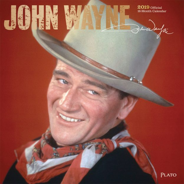 John Wayne 2019 12 x 12 Inch Monthly Square Wall Calendar with Foil Stamped Cover by Plato, USA American Actor Celebrity Country