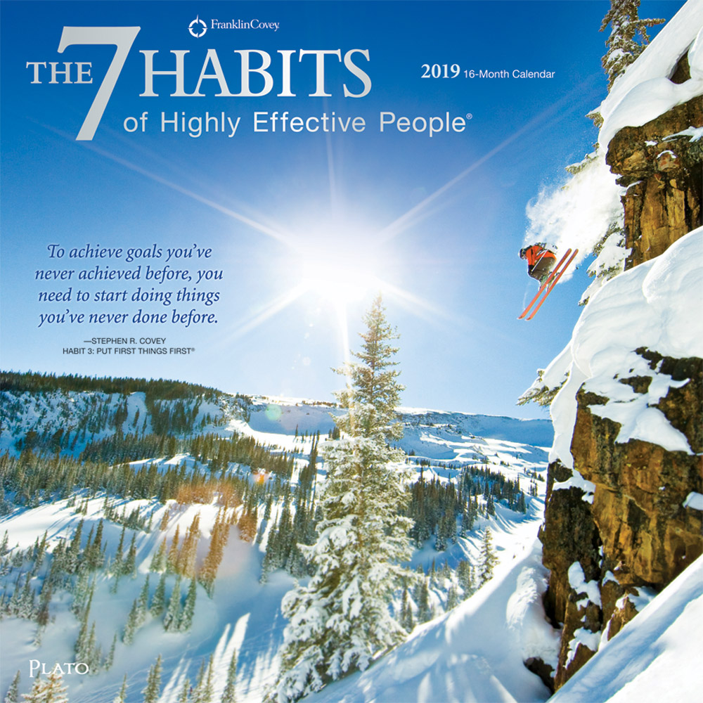 The 7 Habits of Highly Effective People 2019 12 x 12 Inch Monthly Square Wall Calendar with Foil Stamped Cover by Plato, Self Help Improvement