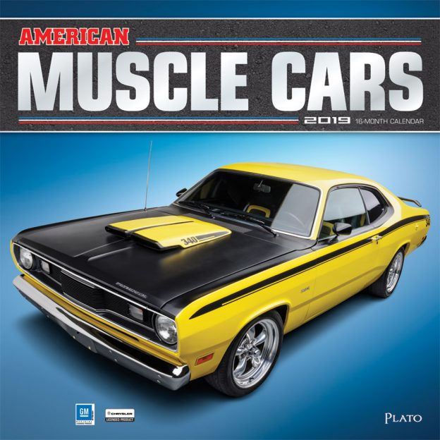 American Muscle Cars 2019 12 x 12 Inch Monthly Square Wall Calendar with Foil Stamped Cover by Plato, USA Motor Ford Chevrolet Chrysler Oldsmobile Pontiac
