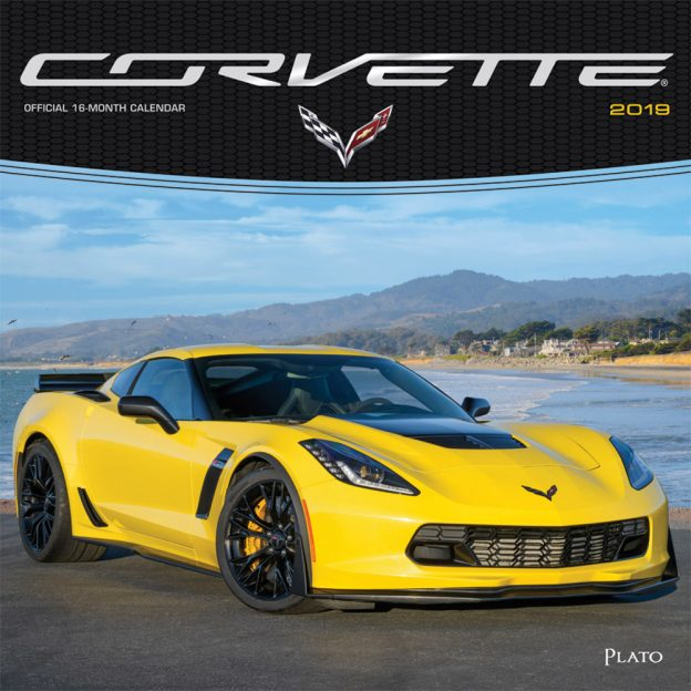 Corvette 2019 12 x 12 Inch Monthly Square Wall Calendar with Foil Stamped Cover by Plato, Chevrolet Motor Muscle Car