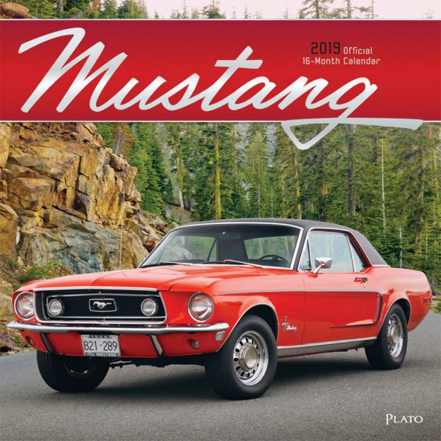 Mustang 2019 12 x 12 Inch Monthly Square Wall Calendar with Foil Stamped Cover by Plato, Ford Motor Muscle Car