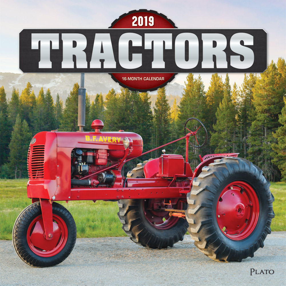Tractors 2019 12 x 12 Inch Monthly Square Wall Calendar with Foil Stamped Cover by Plato, Farm Rural Country