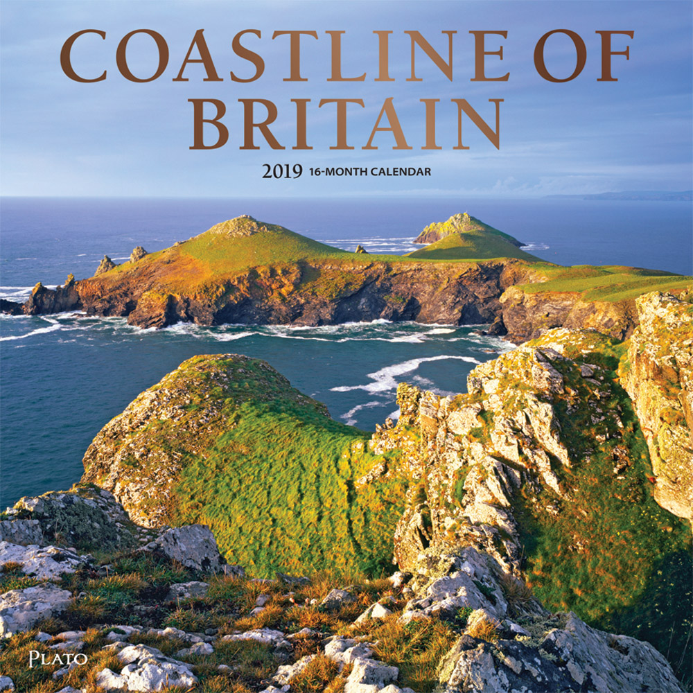 Coastline of Britain 2019 12 x 12 Inch Monthly Square Wall Calendar with Foil Stamped Cover by Plato, UK United Kingdom Ocean Sea Scenic Nature