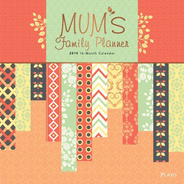 Mum's Family Planner 2019 12 x 12 Inch Monthly Square Wall Calendar with Foil Stamped Cover by Plato, Planning Organization Family