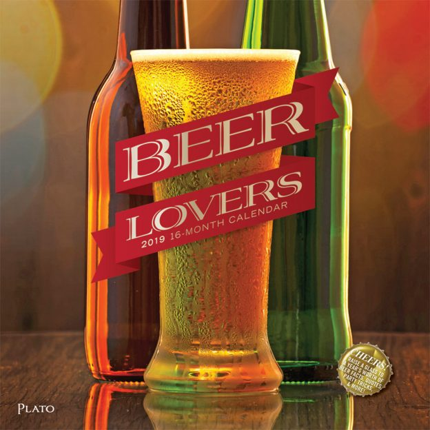 Beer Lovers 2019 12 x 12 Inch Monthly Square Wall Calendar with Foil Stamped Cover by Plato, Alcohol Hops Cerveza Drinking
