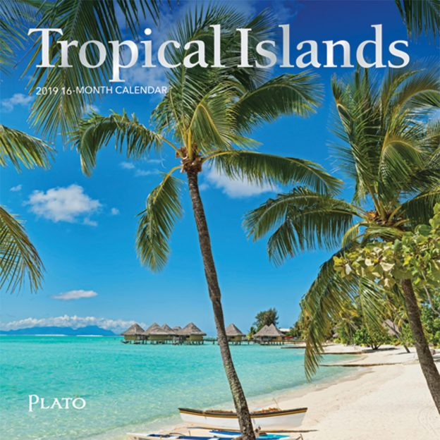 Tropical Islands 2019 7 x 7 Inch Monthly Mini Wall Calendar with Foil Stamped Cover by Plato, Scenic Travel Tropical Photography