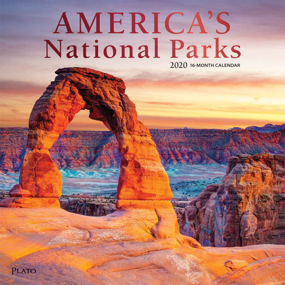 America's National Parks 2020 12 x 12 Inch Monthly Square Wall Calendar with Foil Stamped Cover by Plato, Yosemite Yellowstone