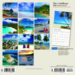 The Caribbean 2020 7 x 7 Inch Monthly Mini Wall Calendar with Foil Stamped Cover by Plato, Travel Nature Beach Tropical