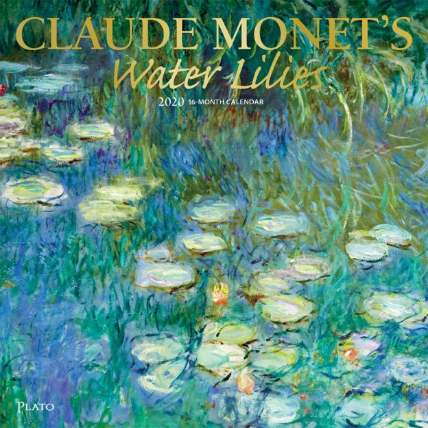 Claude Monet's Water Lilies 2020 12 x 12 Inch Monthly Square Wall Calendar with Foil Stamped Cover by Plato, Impressionism Art Artist Outdoor