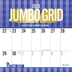 Jumbo Grid Large Print 2020 12 x 12 Inch Monthly Square Wall Calendar with Foil Stamped Cover by Plato, Easy to See with Large Font