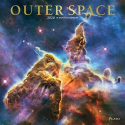 Outer Space 2020 12 x 12 Inch Monthly Square Wall Calendar with Foil Stamped Cover by Plato, Universe Cosmos Inspiration