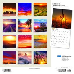 Sunsets 2020 12 x 12 Inch Monthly Square Wall Calendar with Foil Stamped Cover by Plato, Nature Photography Science