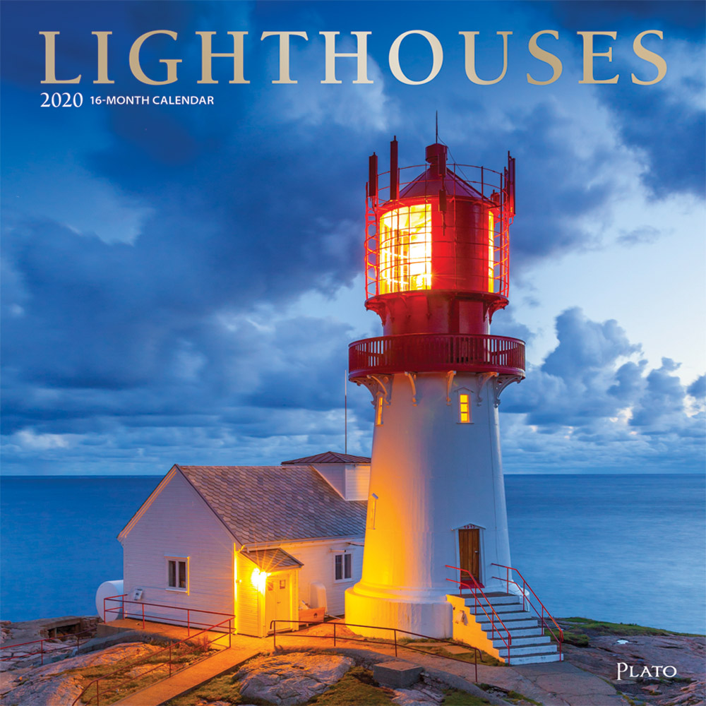 Lighthouses 2020 12 x 12 Inch Monthly Square Wall Calendar with Foil Stamped Cover by Plato, Ocean Sea Coast