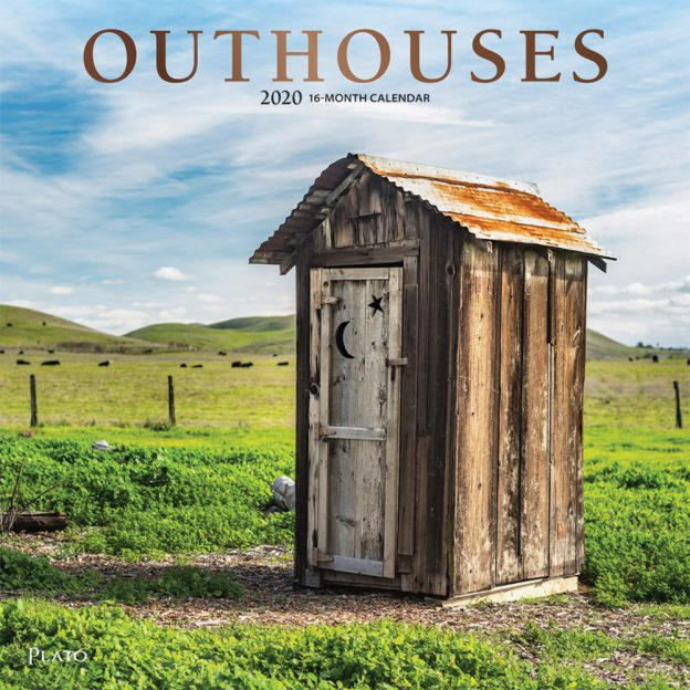 Outhouses 2020 12 x 12 Inch Monthly Square Wall Calendar with Foil Stamped Cover by Plato, Toilette Latrine Bog Humor
