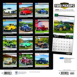 Classic Ford Pickups 2020 12 x 12 Inch Monthly Square Wall Calendar with Foil Stamped Cover by Plato, Motor Truck