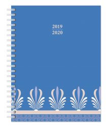 Ornamental Blue 2020 6 x 7.75 Inch Weekly 18 Months Desk Planner by Plato, Planning Stationery