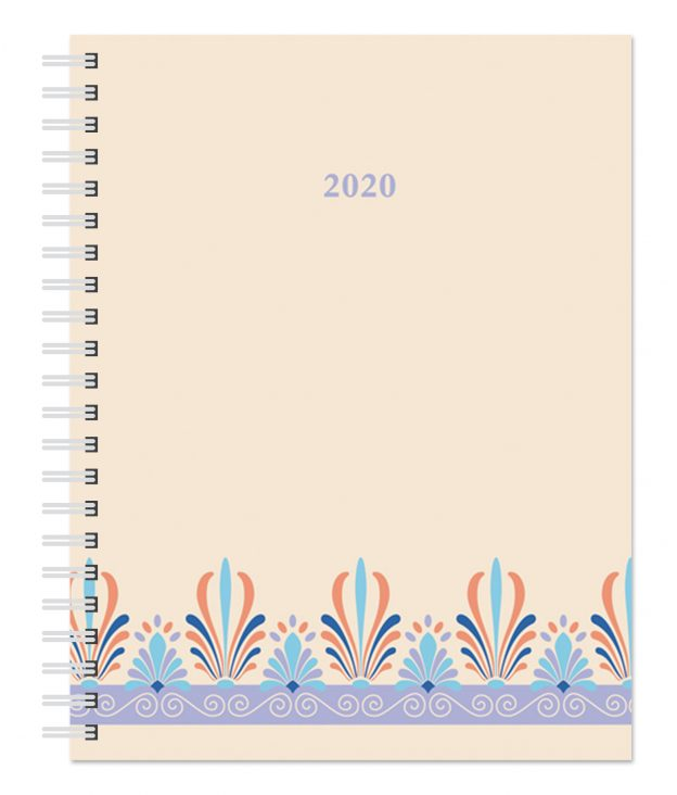 Ornamental Blue 2020 6 x 7.75 Inch Weekly Desk Planner by Plato, Planning Stationery