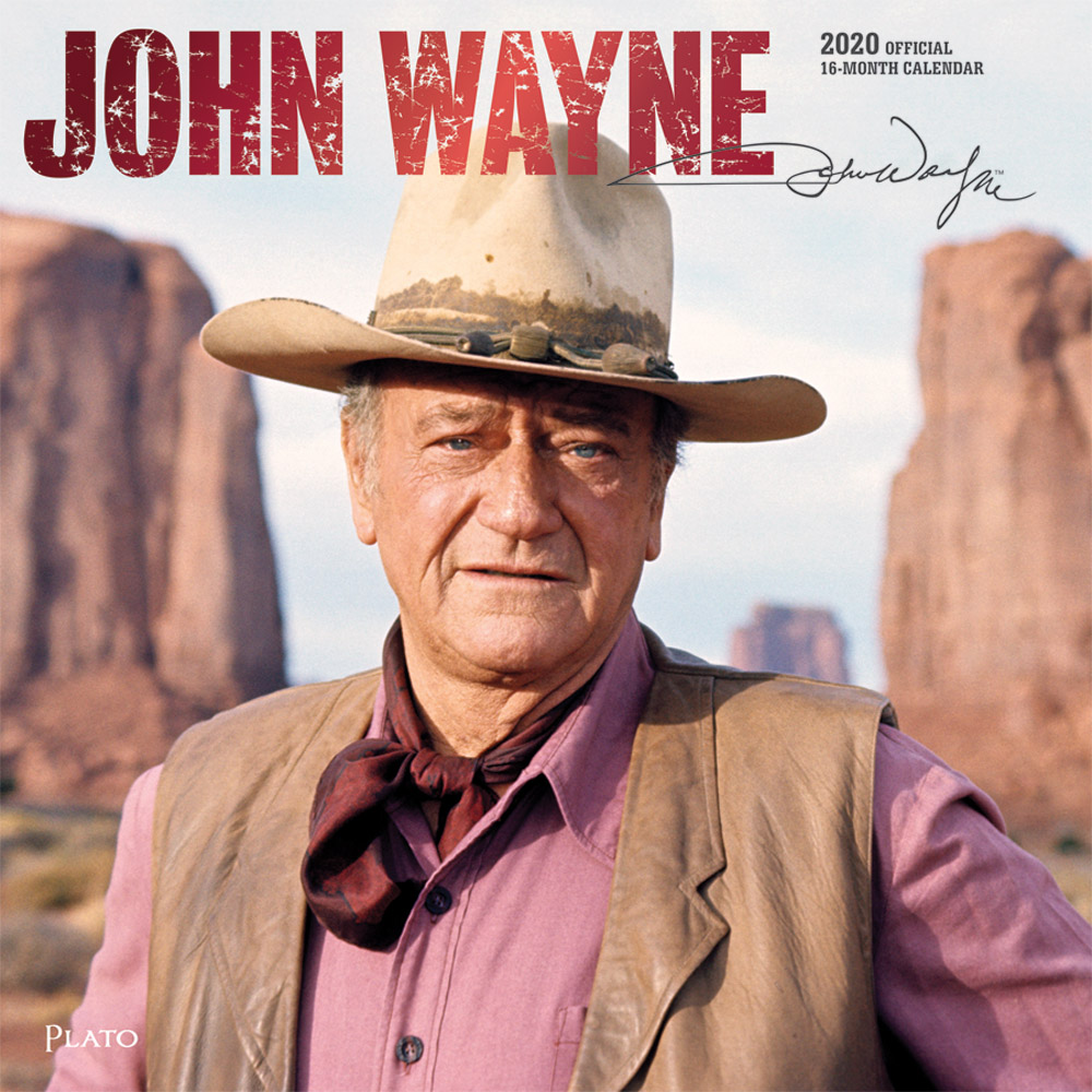 John Wayne 2020 12 x 12 Inch Monthly Square Wall Calendar with Foil Stamped Cover by Plato, USA American Actor Celebrity Country