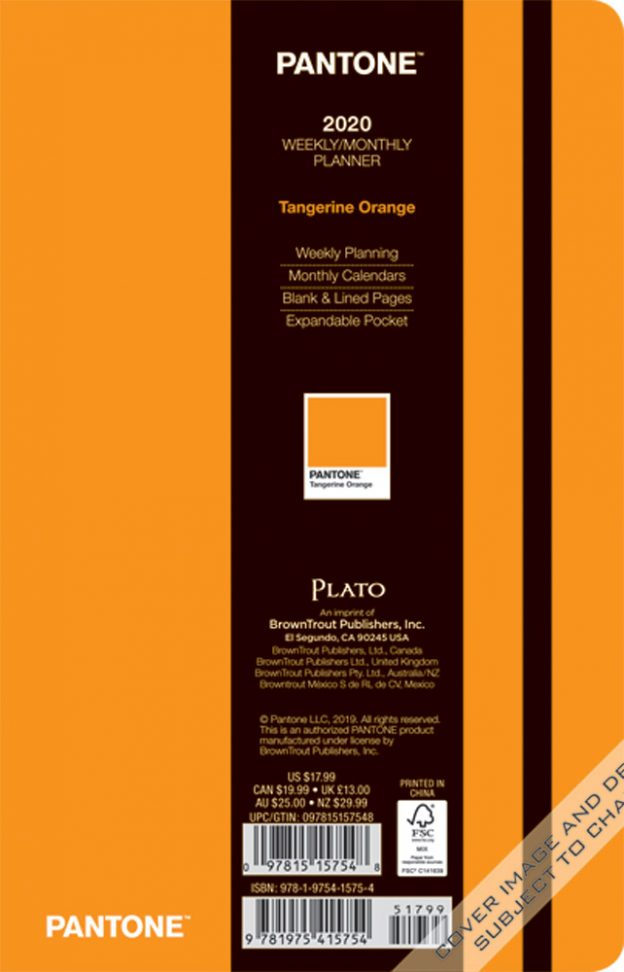 Pantone™ 2020 5.25 x 8.25 Inch Fashion Planner Compact Weekly from Plato™ Tangerine Orange