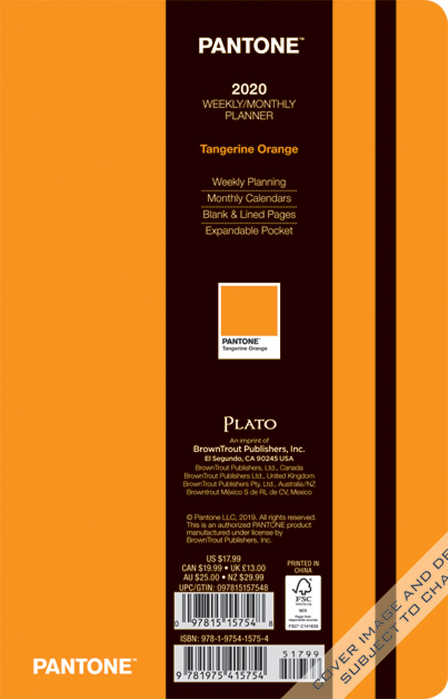 Pantone™ 2020 5.25 x 8.25 Inch Fashion Planner Compact Weekly from Plato™ Tangerine Orange