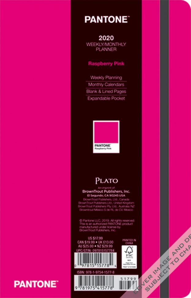 Pantone™ 2020 5.25 x 8.25 Inch Fashion Planner Compact Weekly from Plato™ Raspberry Pink