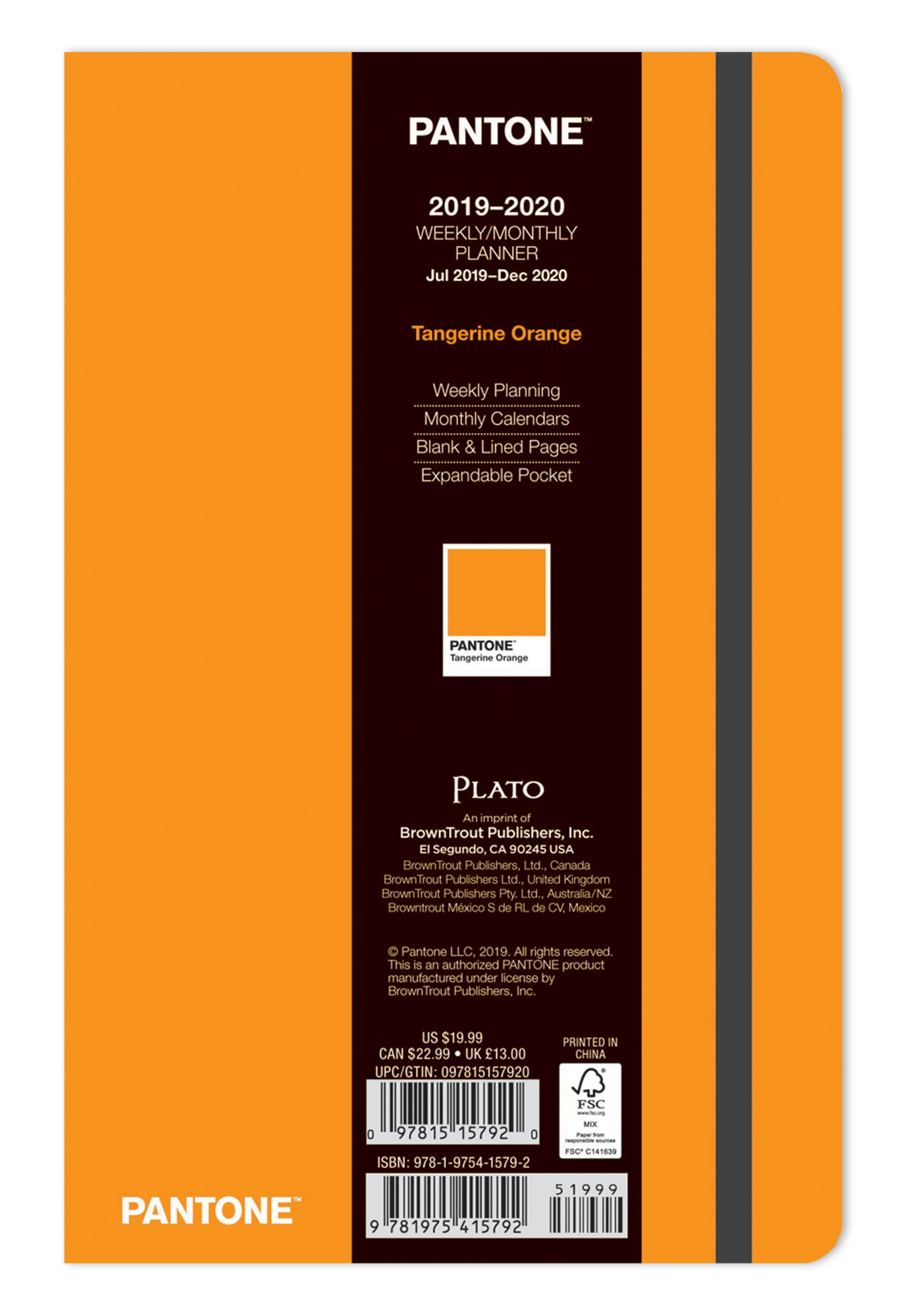 Pantone™ 2020 5.25 x 8.25 Inch Fashion Planner 18 Months Compact Weekly from Plato™ Tangerine Orange