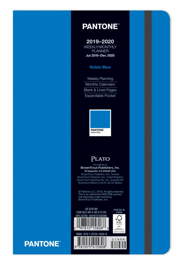 Pantone™ 2020 5.25 x 8.25 Inch Fashion Planner 18 Months Compact Weekly from Plato™ Noble Blue