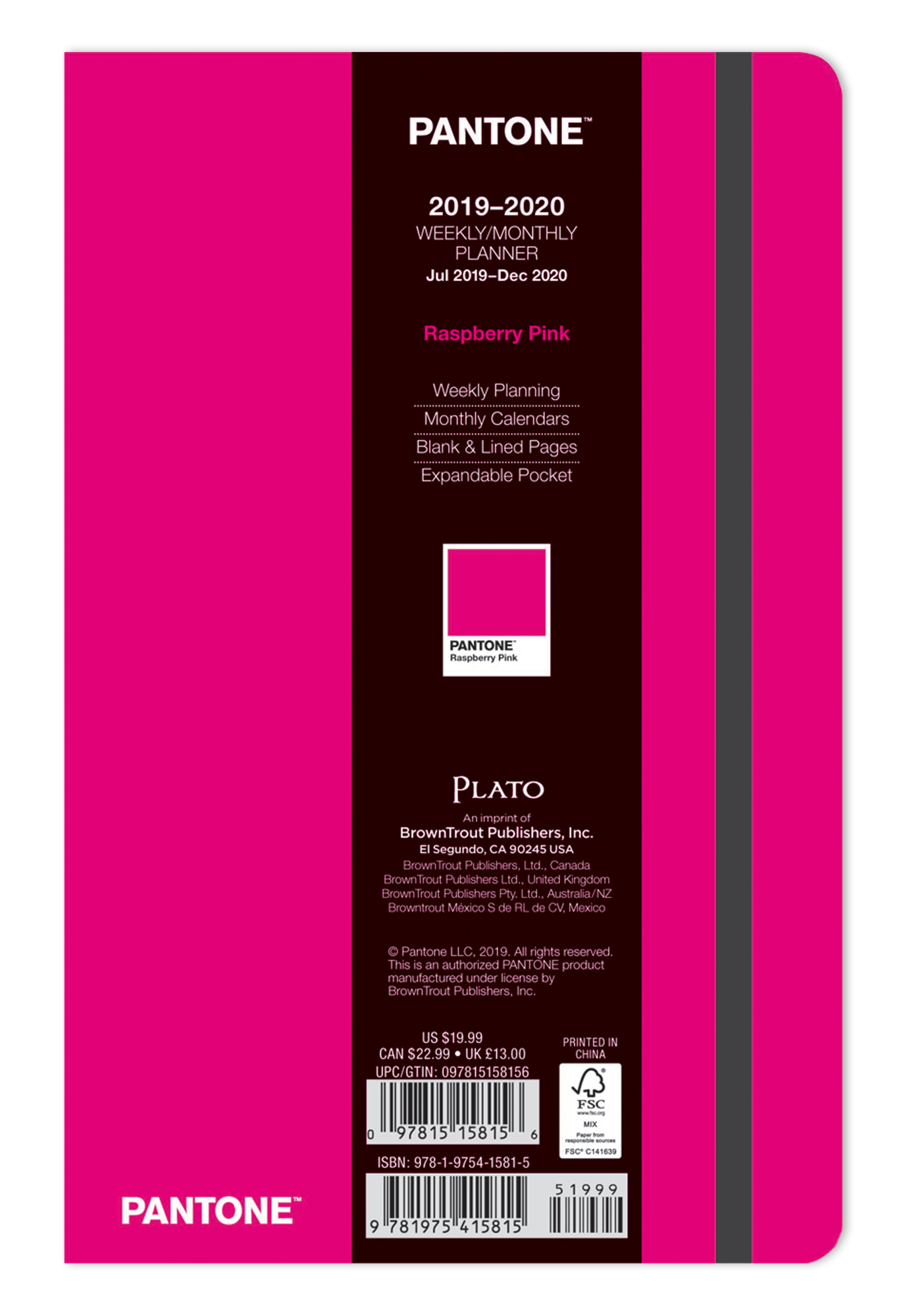 Pantone™ 2020 5.25 x 8.25 Inch Fashion Planner 18 Months Compact Weekly from Plato™ Raspberry Pink
