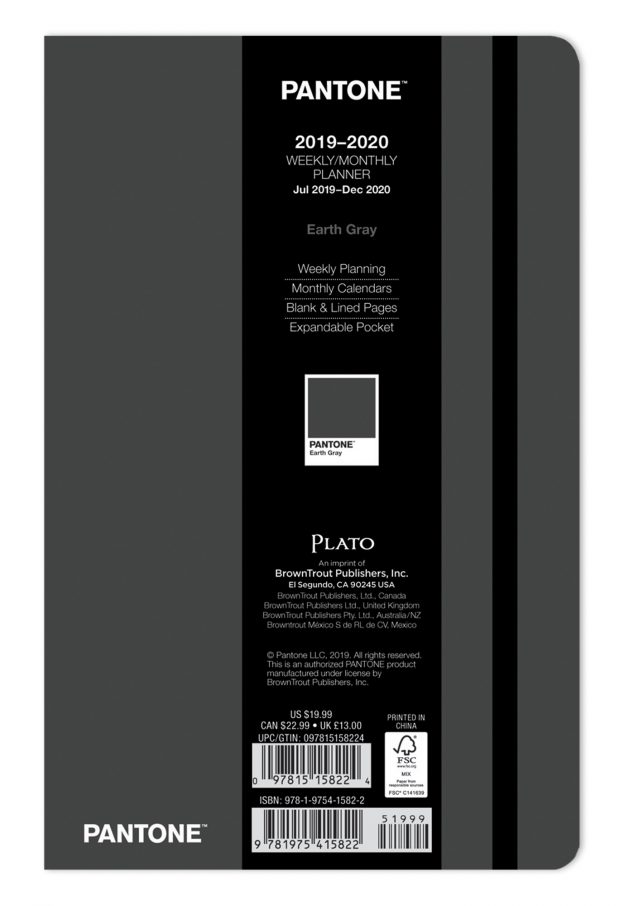 Pantone™ 2020 5.25 x 8.25 Inch Fashion Planner 18 Months Compact Weekly from Plato™ Earth Gray