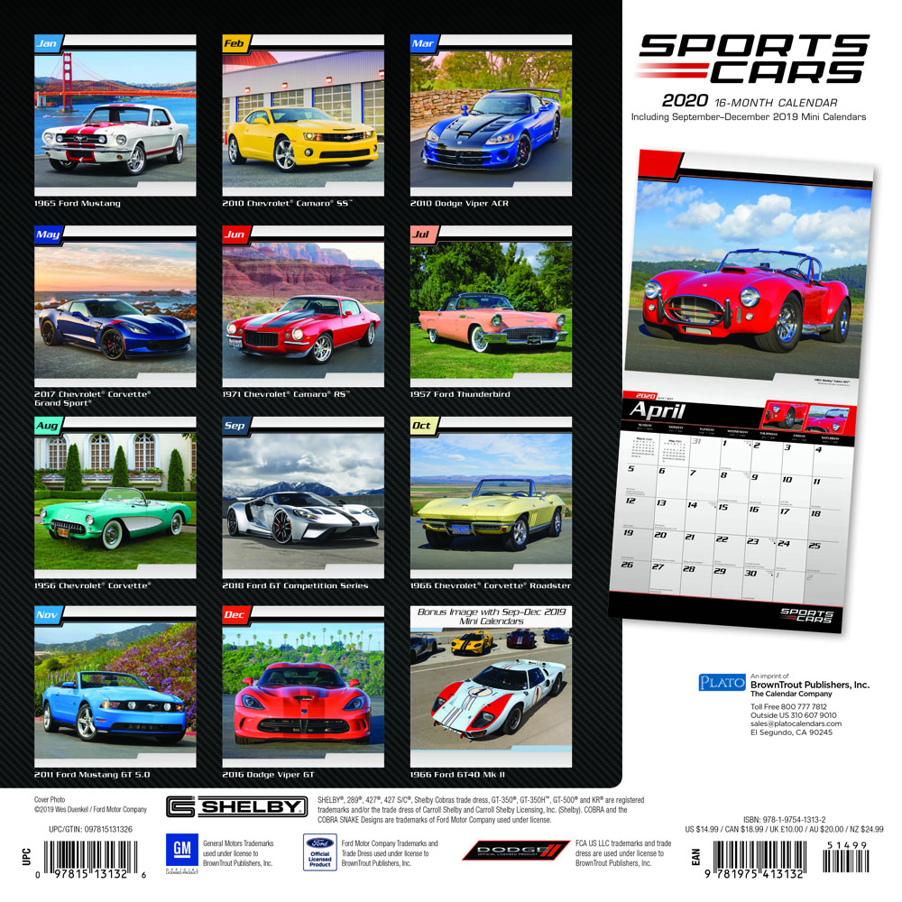 Sports Cars 2020 12 x 12 Inch Monthly Square Wall Calendar with Foil Stamped Cover by Plato, Racing Sports