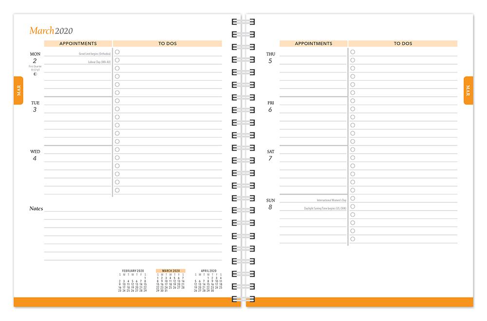 Pantone™ 2020 6 x 7.75 Inch Desk Planner from Plato™ Fresh Orange