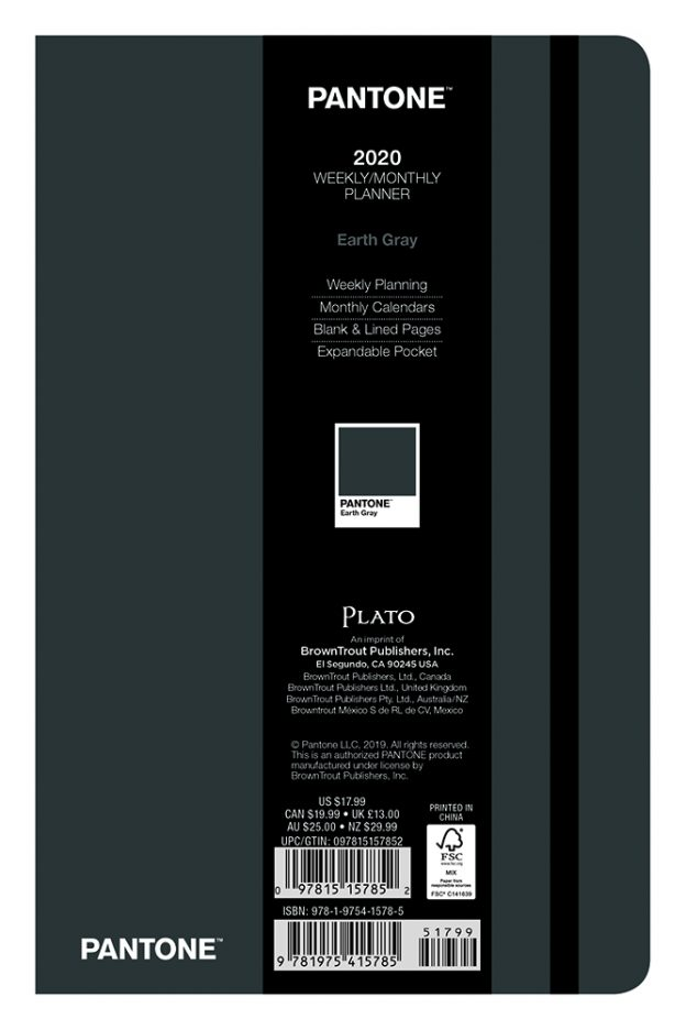 Pantone™ 2020 5.25 x 8.25 Inch Fashion Planner Compact Weekly from Plato™ Earth Gray