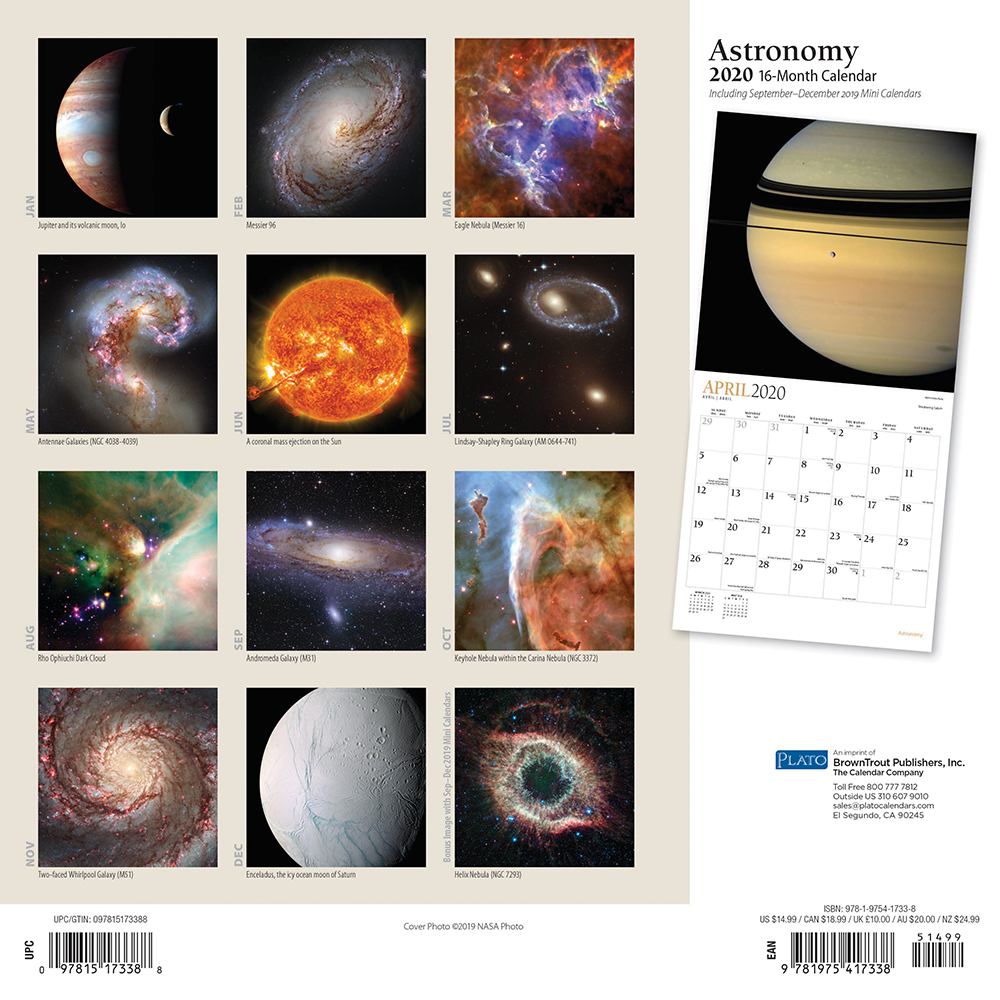 Astronomy 2020 12 x 12 Inch Monthly Square Wall Calendar with Foil Stamped Cover by Plato, Astronomy Nasa Hubble Telescope